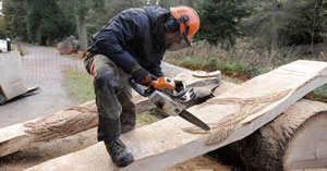 Chainsaw artist carving