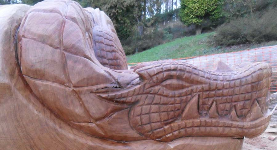 Dragon Bench carved seat